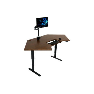 iMovR Cascade Corner Standing Desk 3D View Monitor Facing Right