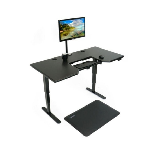 iMovR Cascade Standing Desk 3D View Black With Monitor And Mat