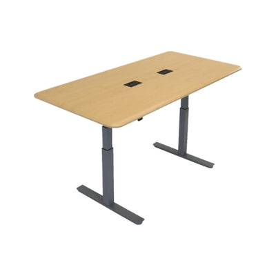 iMovR Synapse Rectangle Adjustable Height Conference Table Gray Base