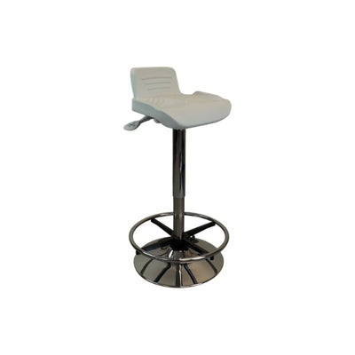 iMovR Tempo Sit-Stand Stool 3D View White With Foot Rest