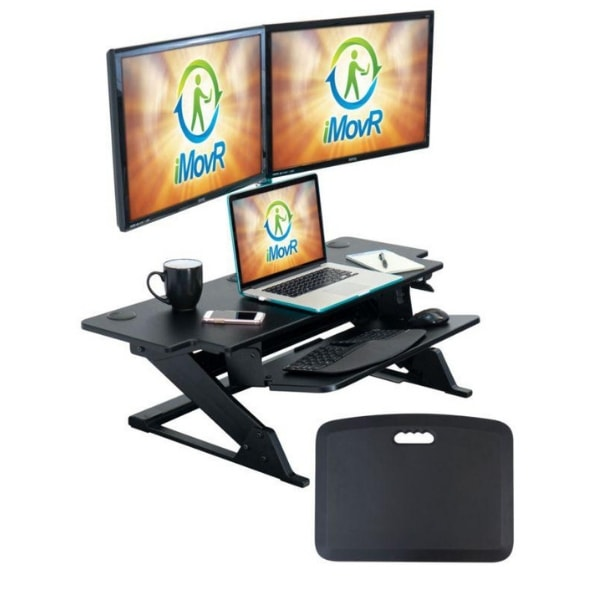 iMovR ZipLift HD 42 inch Standing Desk Converter Two Monitor And Laptop