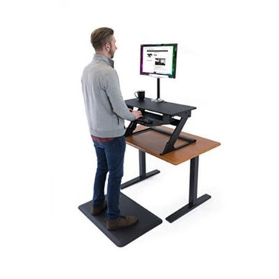 iMovR ZipLift+ Standing Desk Converter Top Front Side View Standing