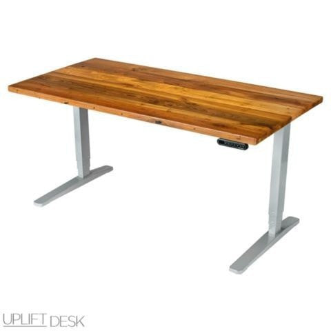 Uplift Height Adjustable Standing Desk W Reclaimed Wood