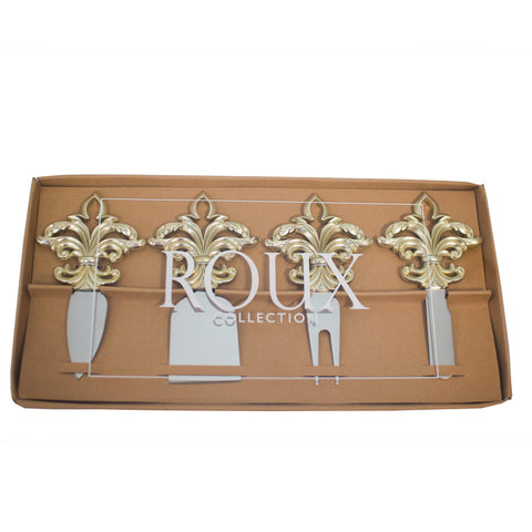 Fleur-de-lis Cheese Knife Set (Gold or Silver)