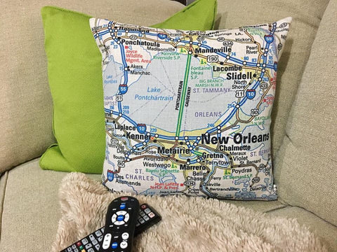 New Orleans Area Map Pillow Cover