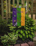 Mardi Gras Justice Power and Faith Flag Garden Size