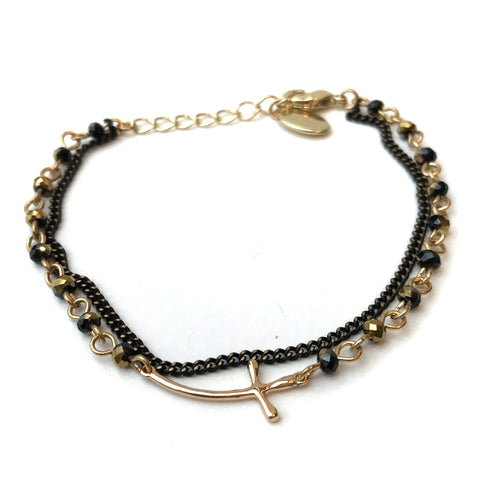 Cross Bracelet with Black and Gold Bead