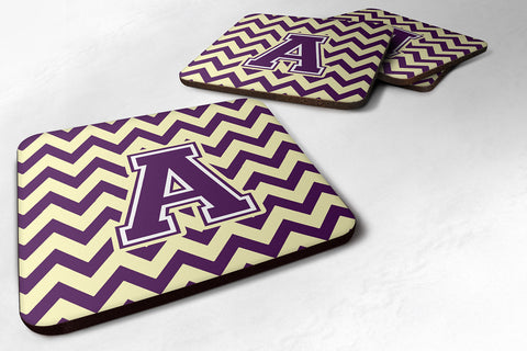 Purple and Gold Chevron Foam Coaster - Set of 4