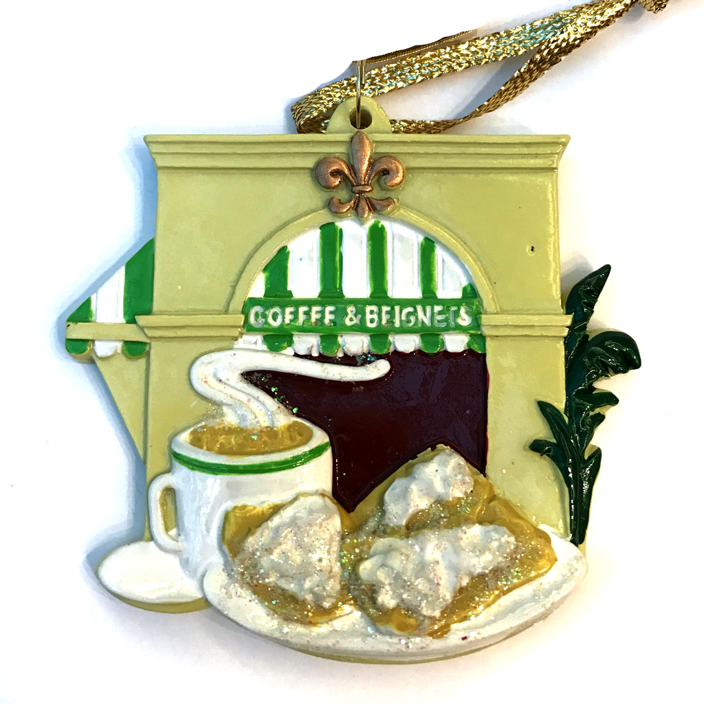 New Orleans Christmas Ornament Coffee and Beignet Cafe du monde French Quarter Ornament