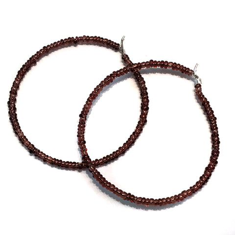 HALO Beaded Hoop Earrings - Chocolate Love
