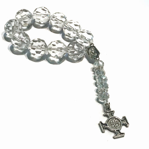 Clear Glass Bead Elastic Doorknob Home Blessing - Single Decade Rosary