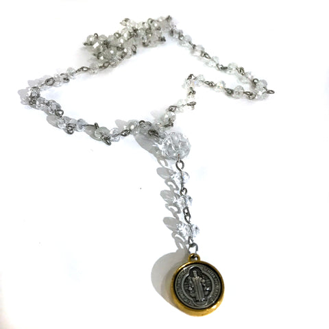 Clear Bead Rosary Bead St Benedict Necklace