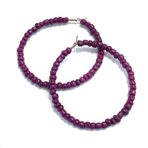 HALO Beaded Hoop Earrings - Purple People Eater