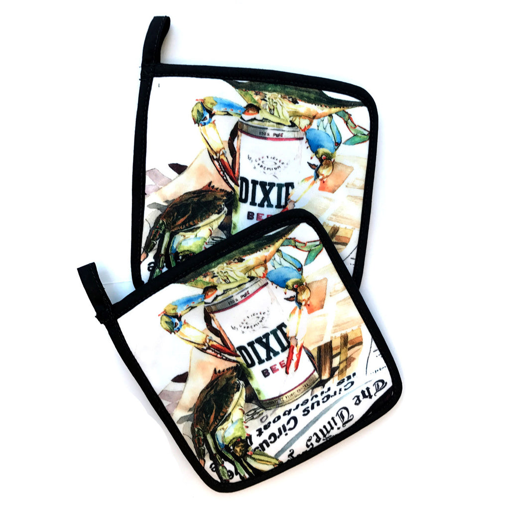 Crab and Dixie Beer Pot Holders - Set of Two