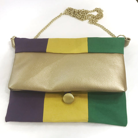 Mardi Gras Striped Crossbody FoldOver Purse with Button Closure