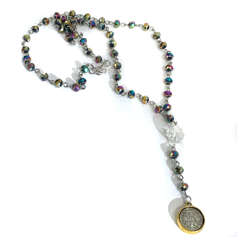 Iridescent Bead Rosary Bead St Benedict Necklace