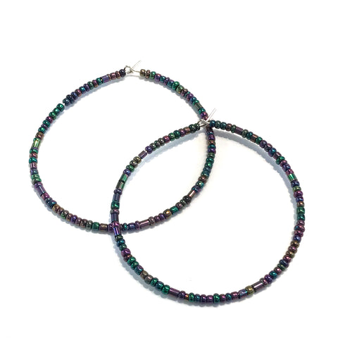 HALO Beaded Hoop Earrings - Mardi Gras Mambo