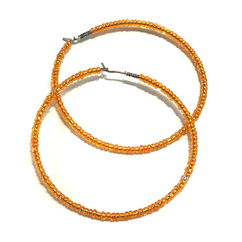 HALO Beaded Hoop Earrings - Orange Crush