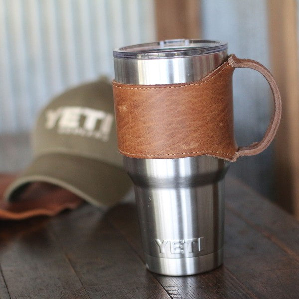 Rocket City Yeti Personalized Leather Drink Cooler Wrap with Handle