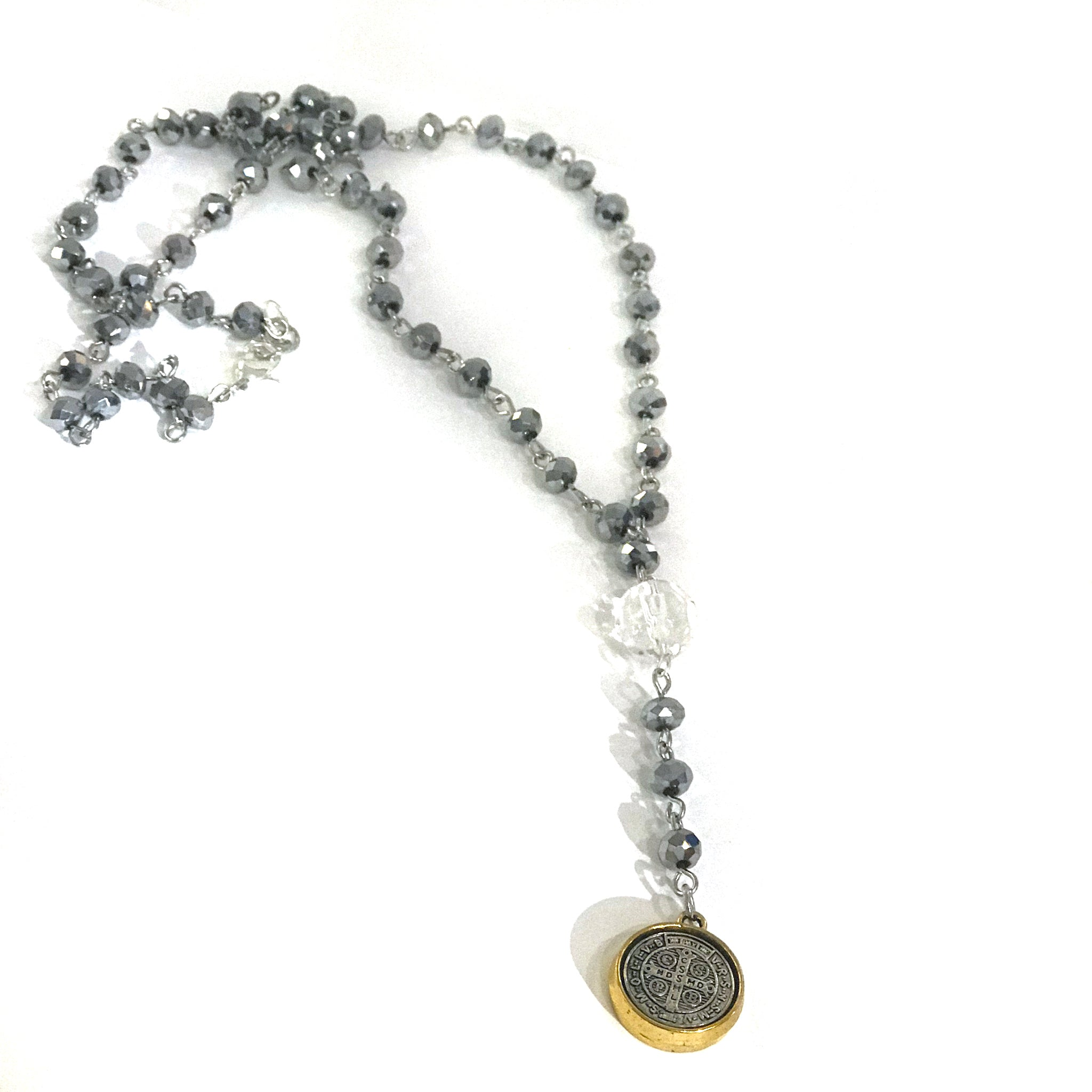 necklace benedict rosary products magnolia blvd st silver bead