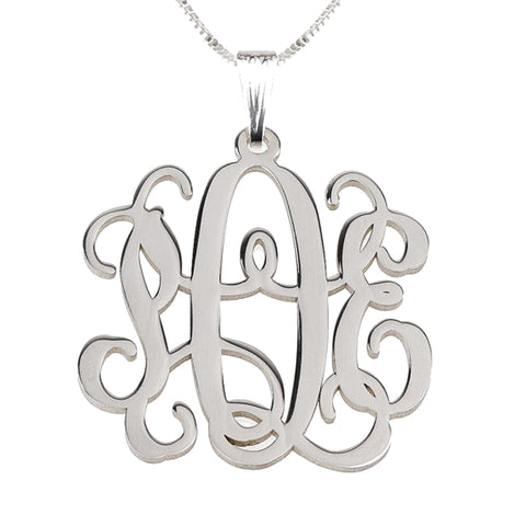 "2"" Sterling Silver Monogram Necklace"