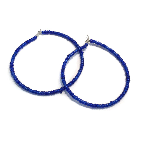 HALO Beaded Hoop Earrings - True Blue