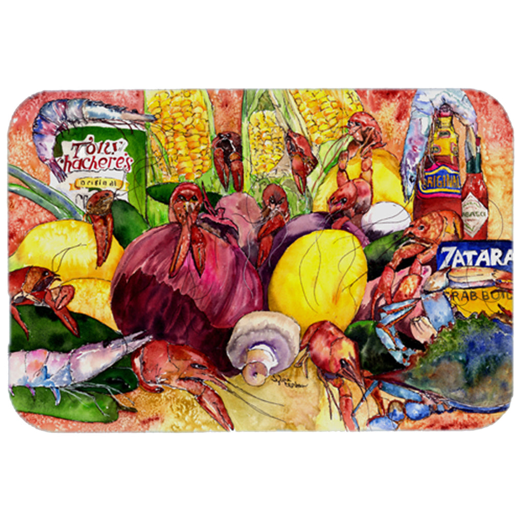 Crawfish with Spices and Corn Glass Cutting Board Large