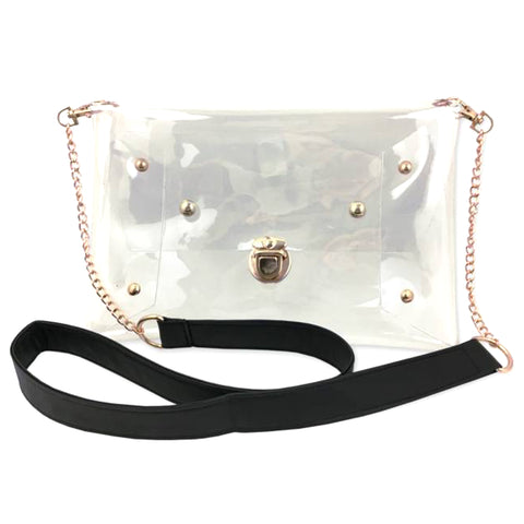 Clear Purse with Chain and Black Leather Strap