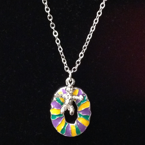 Enameled King Cake and Baby Necklace