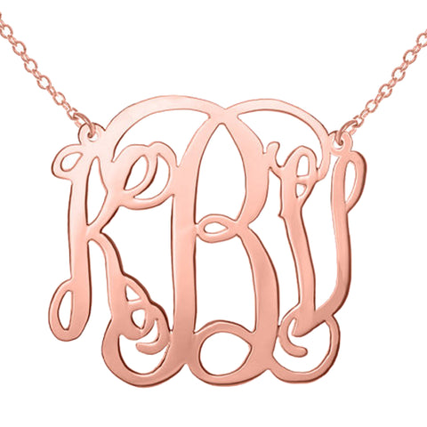 "1"" Rose Gold Monogram Necklace"