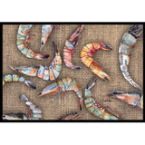 Shrimp on Burlap Mat