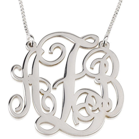 "1"" Sterling Silver Monogram Necklace"