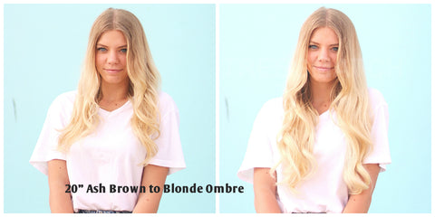 Tressmatch Clip in Remy Hair Extensions Ash Brown to Blonde Ombre