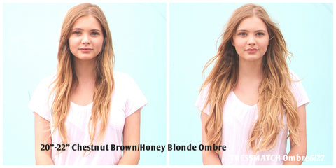 Tressmatch Remy Human Hair Extensions Clip in Chestnut Brown to Honey Blonde Ombre