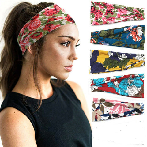 Bandana Headband Hair Wrap Elastic Bohemia Flora Head Band Non Slip or Slide