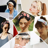 Bandana Headband Hair Wrap Elastic Bohemia Flora Head Band Cris Cross No Slip Slide