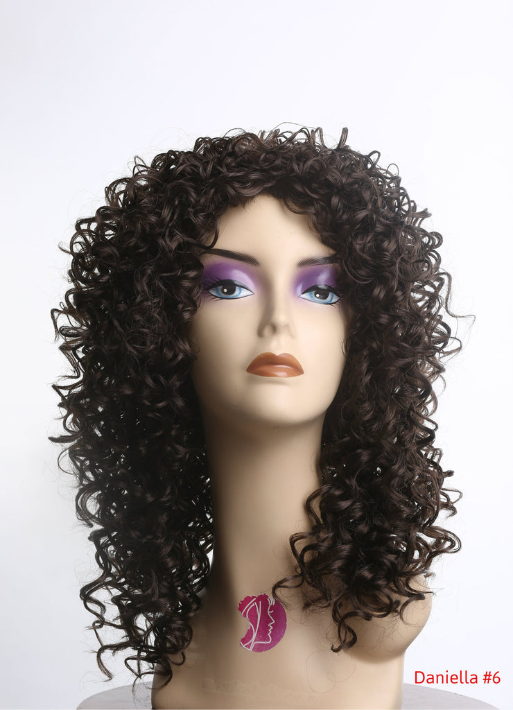 Curly Realistic Synthetic Wig Chestnut Brown