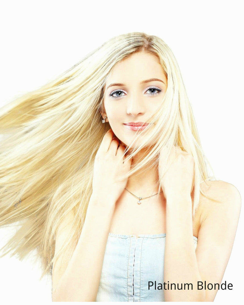 "20""-22"" platinum blonde remy human hair extensions"