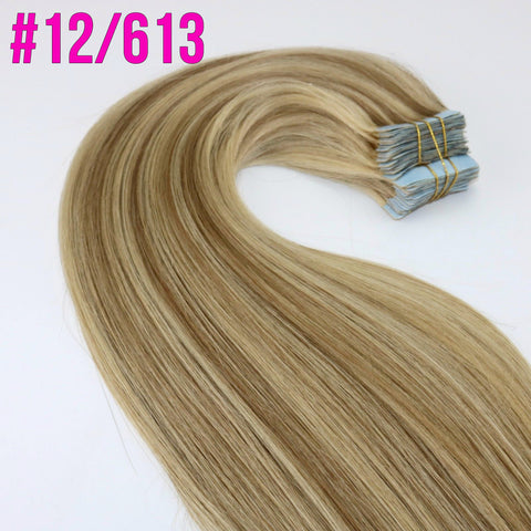 "18""-20"" Tape in Remy Human Hair Wefts Extensions (8 Colors Available)"