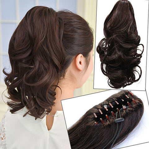 short to mid length claw flowing clip in ponytail