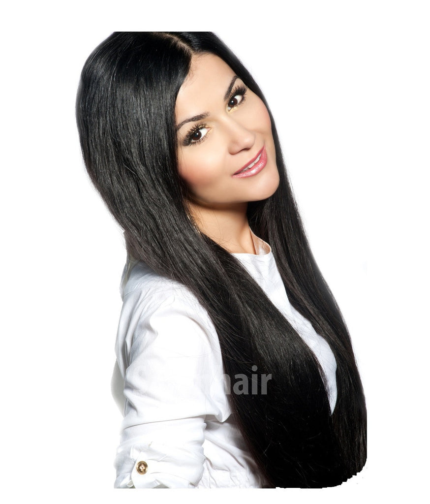 "16"" long off black clip in remy human hair extensions"