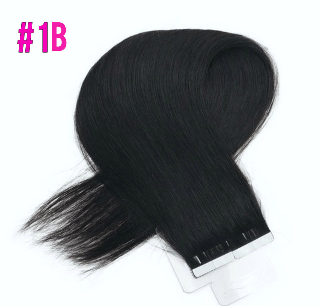"18""-20"" Tape in/Glue Hair Wefts PU Extensions (Black Brown Blonde, 7 Colors Available)"