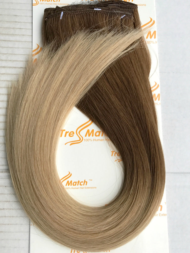 chestnut brown to natural blonde ombre hair extensions clip in