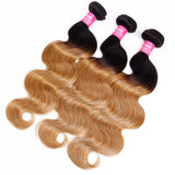"Ombre Natural Color to Honey Blonde Wefts Wavy Texture 16""-20"" in Length"