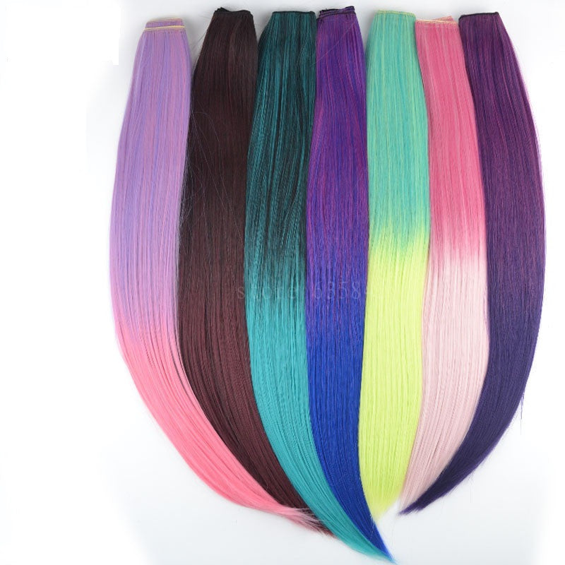 Colorful clip in hair wefts ombre solid