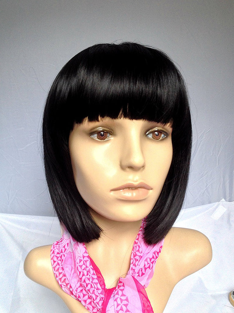Jet black short bob cut wig