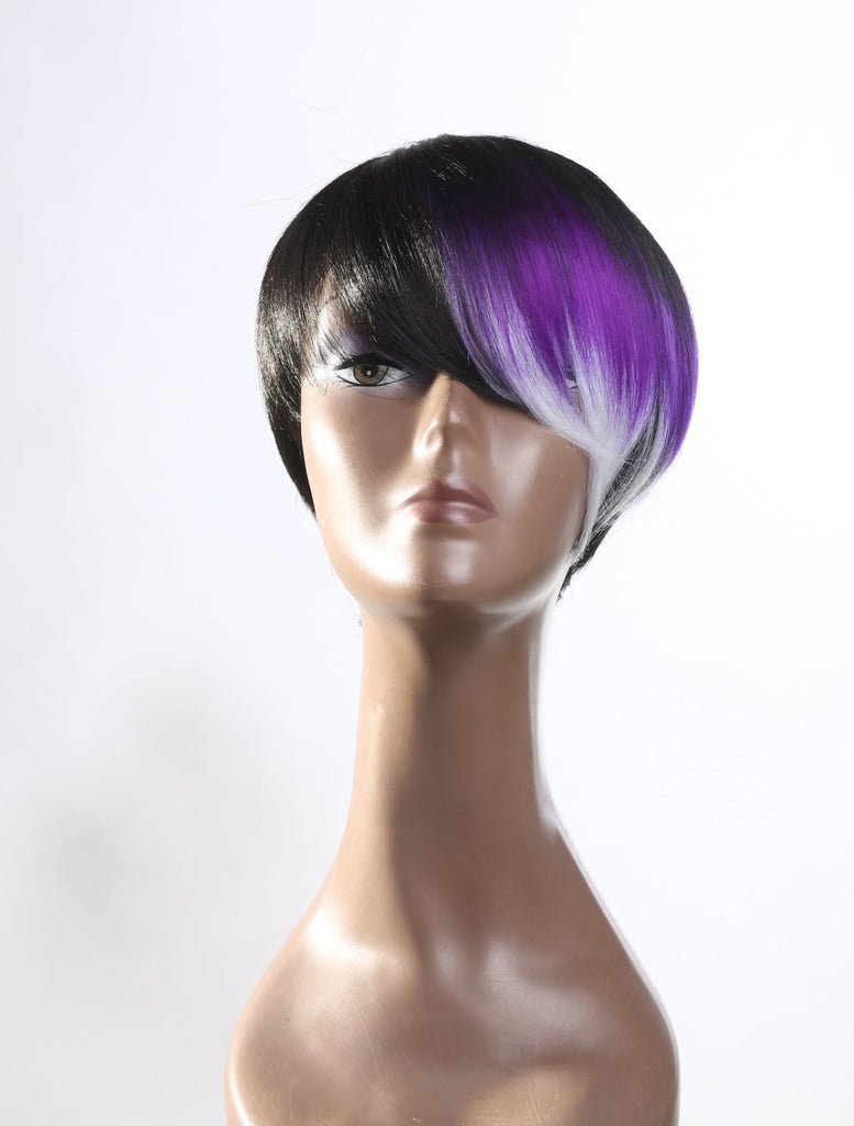 Short fashion color block wig purple gray