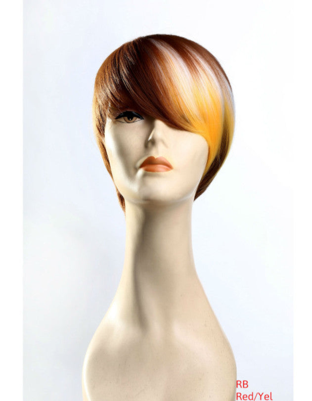 Color block high quality wig auburn white yellow