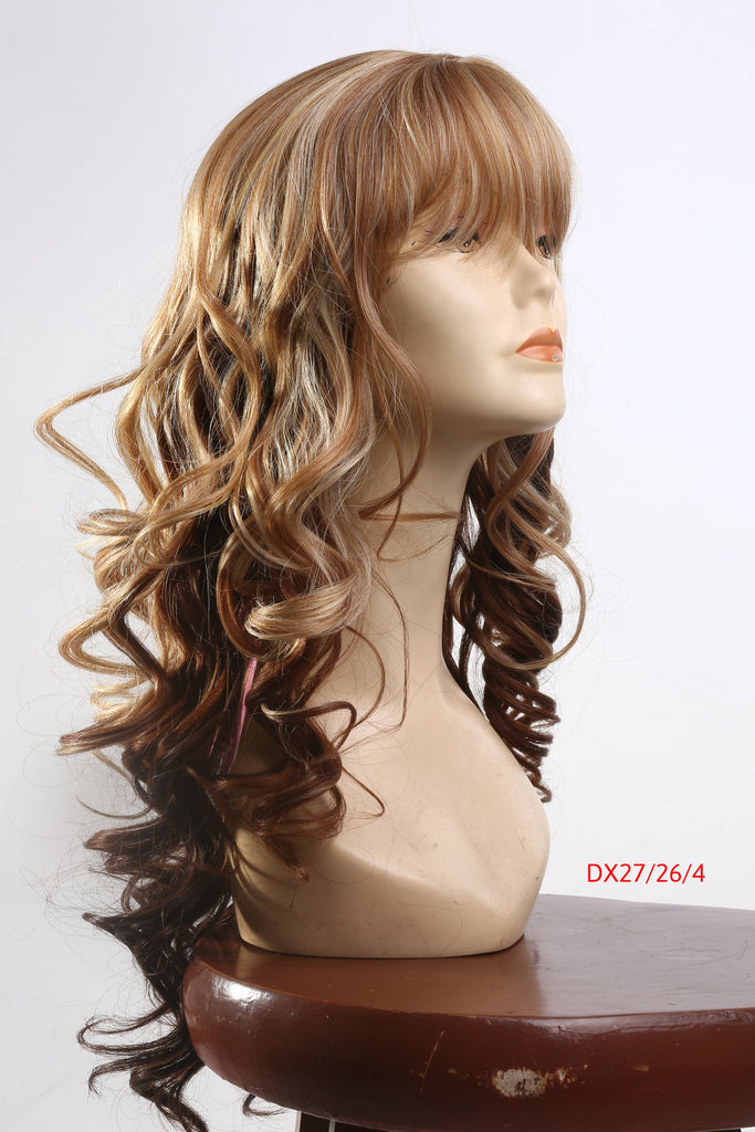 Brown Blonde Wavy Ombre wig With Bang