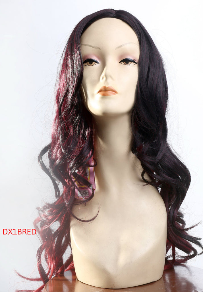 Long curly wig ombre black and red